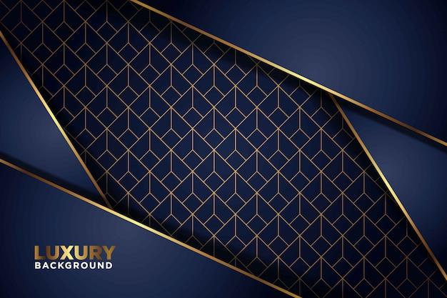 豪華な濃い紺色の背景に金色の線が重なっています。エレガントでモダンな未来的な背景。 Premiumベクター
