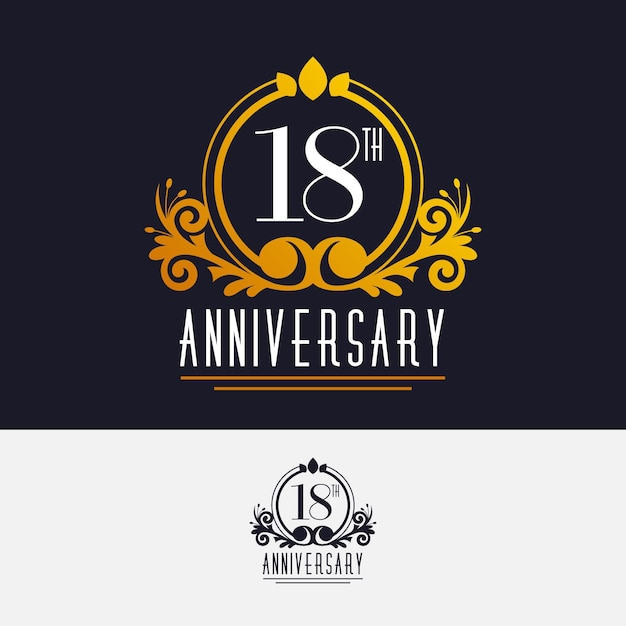 Luxurious eighteenth anniversary logo Free Vector