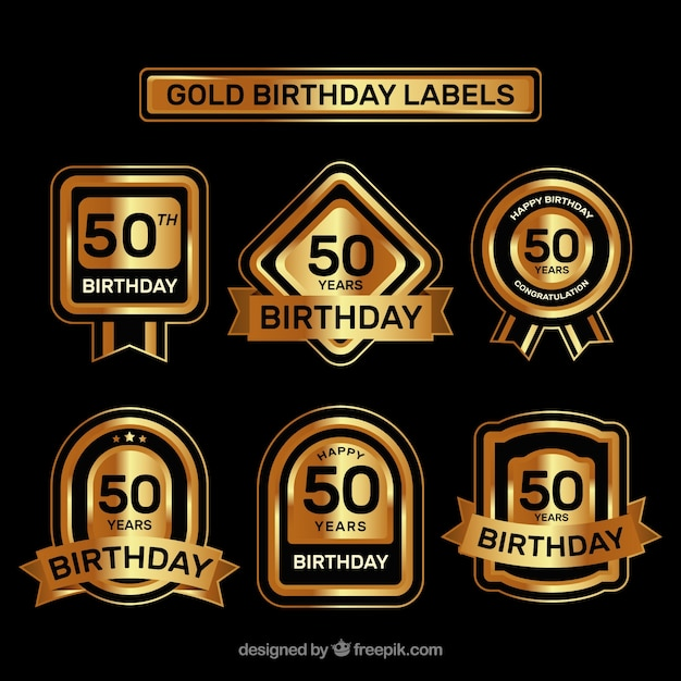 Luxurious Fiftieth Birthday Stickers Vector