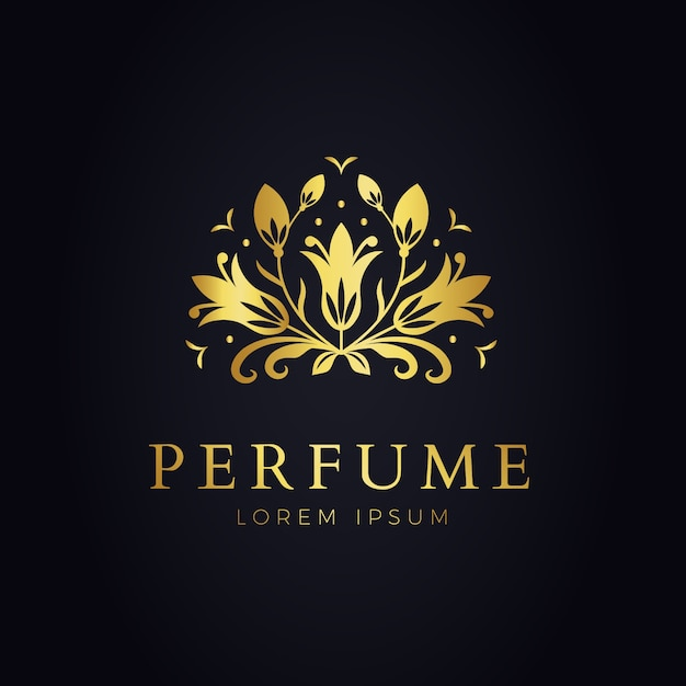 Luxurious floral perfume logo template Free Vector