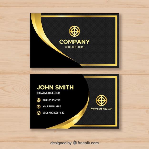 Luxurious golden business card Free Vector