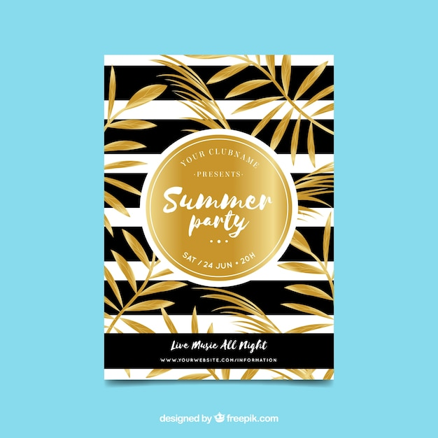 Luxurious golden summer party invitation vector free download luxurious golden summer party invitation free vector stopboris Images