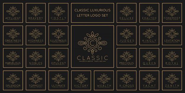 Luxurious letter logo set with classic line art ornament style Premium Vector