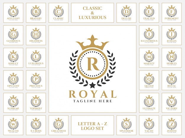 Luxurious letter logo set with royal classic ornament style Premium Vector