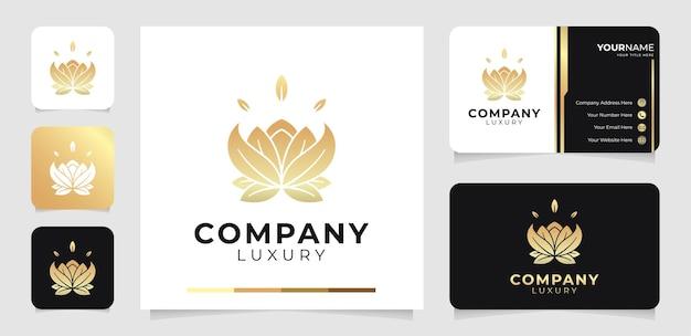 豪華な蓮の花のロゴと名刺テンプレート Premiumベクター