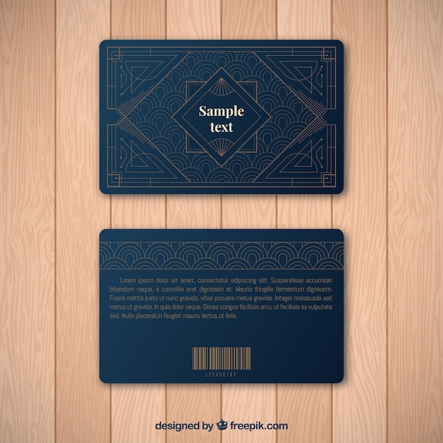 Luxurious loyalty card template with golden  style Free Vector