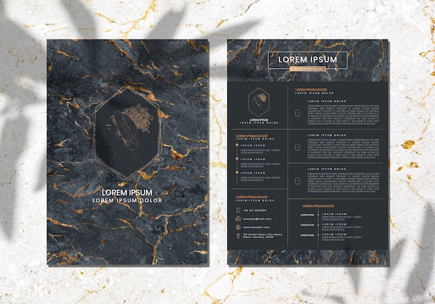Luxurious marble textured cover template vector Premium Vector