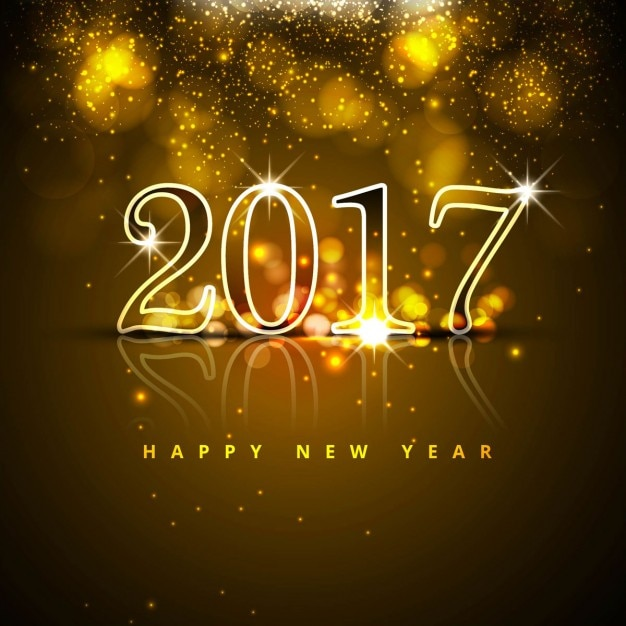 Luxurious new year background with bright numbers Free Vector