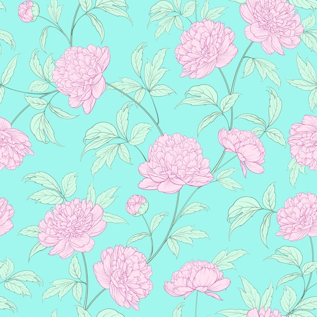 Luxurious peony wallapaper Premium Vector