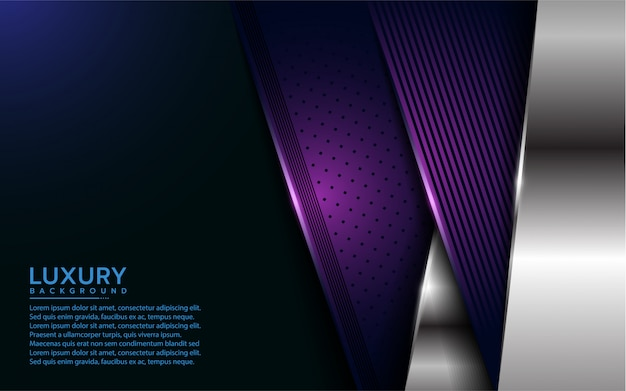Luxurious purple and silver overlap layer background Premium Vector