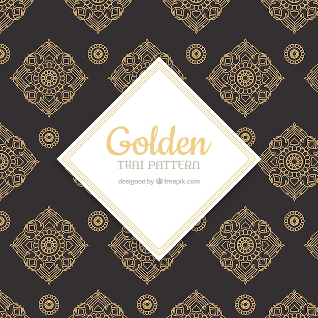 Luxurious thai pattern with golden style Free Vector