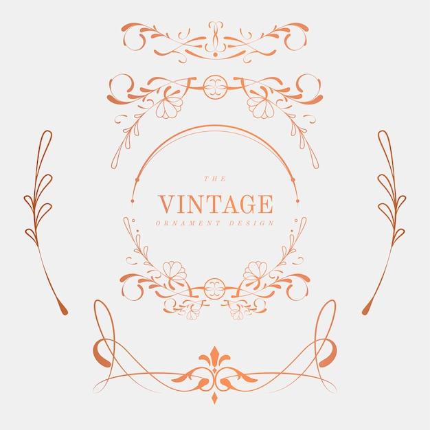 Luxurious vintage art nouveau badge vector set Free Vector