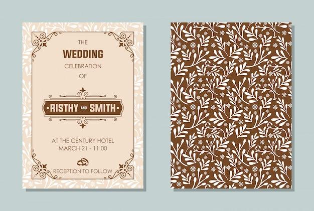 Luxurious wedding invitation Premium Vector