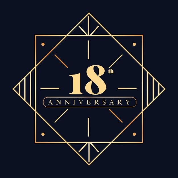 Роскошный шаблон логотипа 18-летия Premium векторы