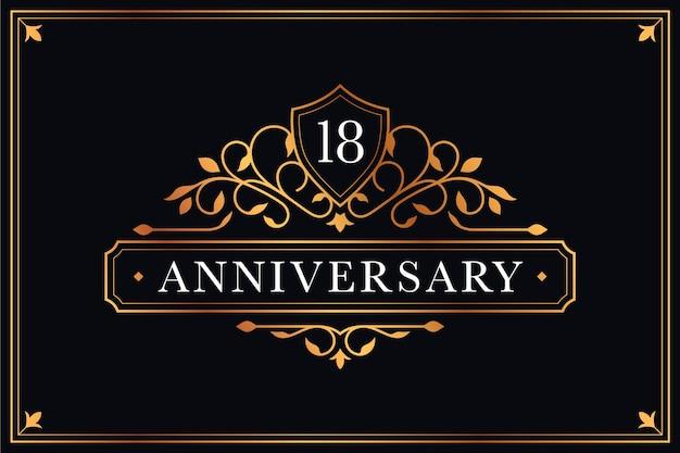 Роскошный шаблон логотипа 18-летия Бесплатные векторы