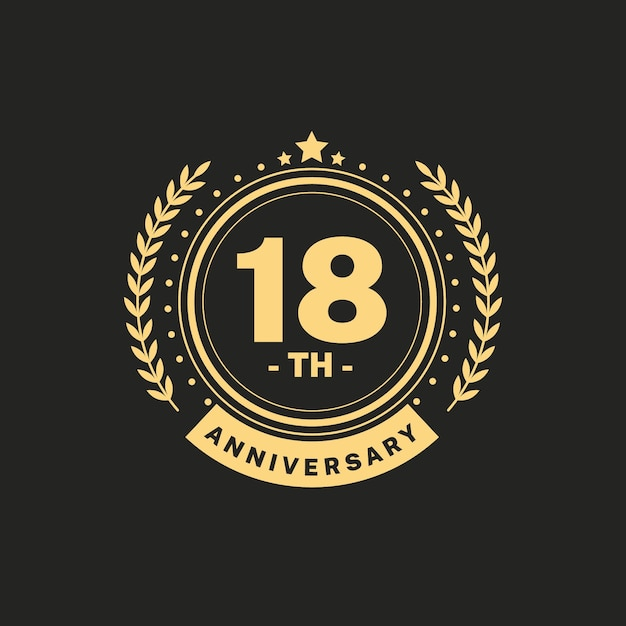 Luxury 18th anniversary logo Free Vector