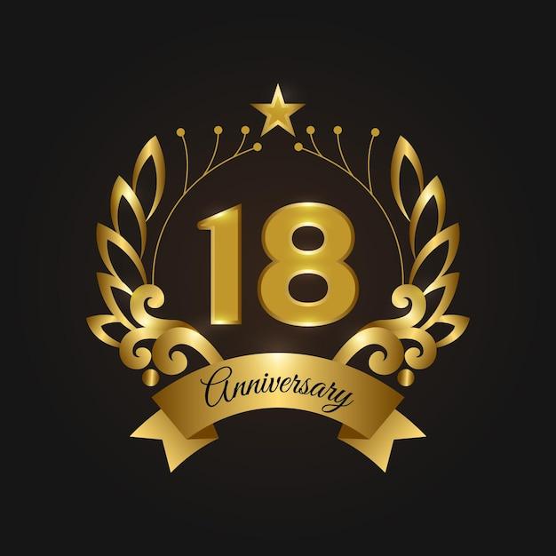 Роскошный логотип 18-летия Бесплатные векторы