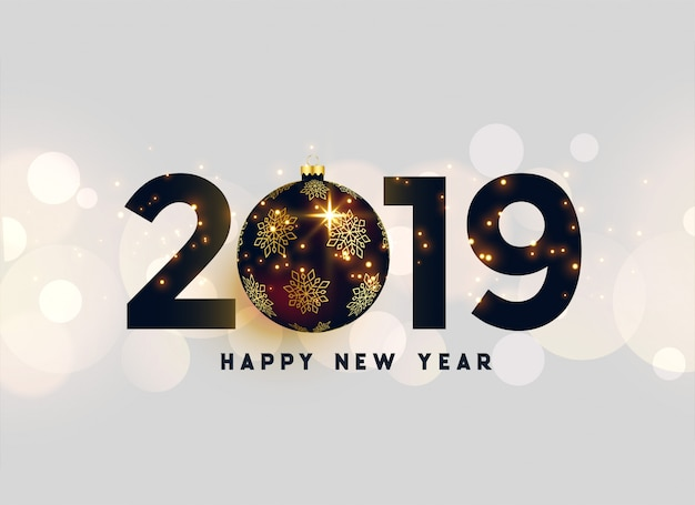 Luxury 2019 new year background Free Vector