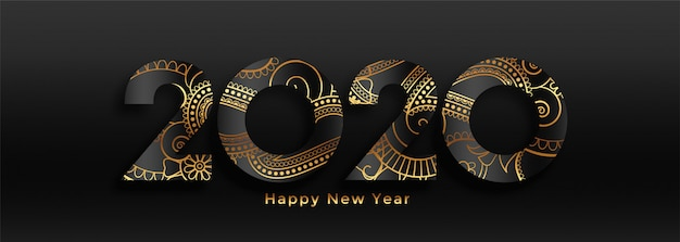 Luxury 2020 happy new year black and gold banner Free Vector