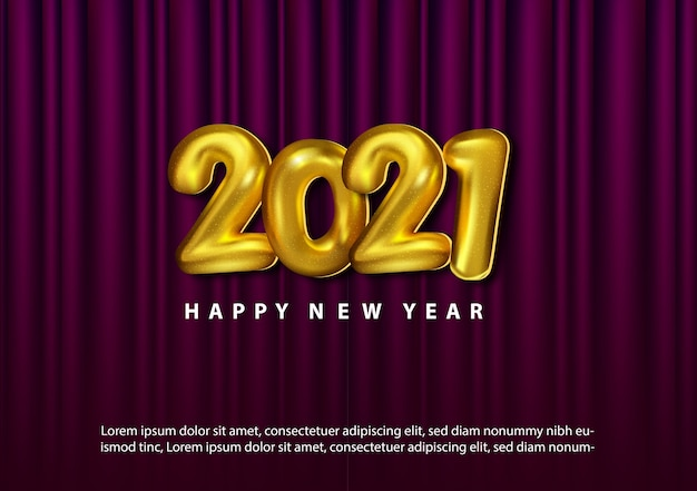 Baloon 3d 골드 번호로 럭셔리 2021 해피 뉴 이어 무료 벡터