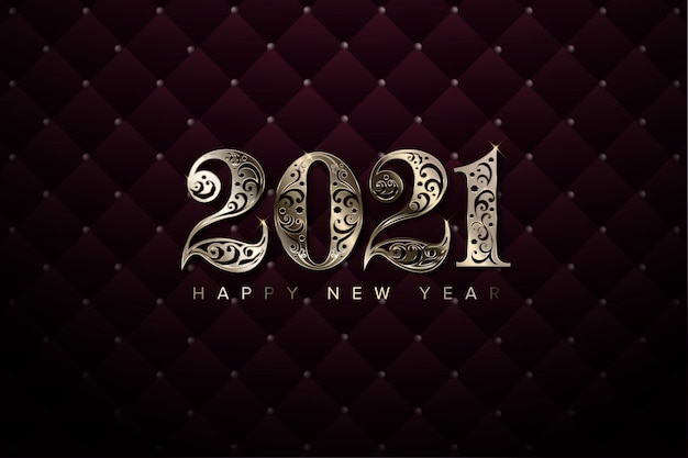 Luxury 2021 new year background Premium Vector