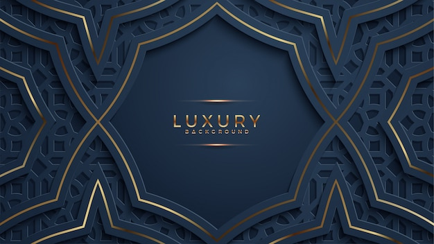Luxury abstract black papercut textured background with shining golden halftone pattern. Premium Vector