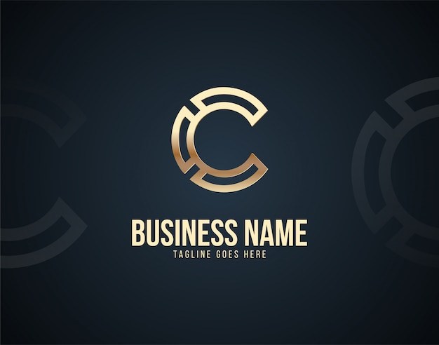 Luxury abstract c letter design logo template with gold color effects Premium Vector