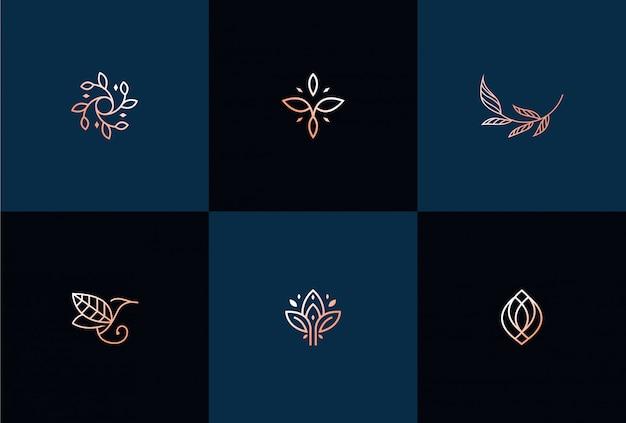 럭셔리 추상 잎 로고 디자인 일러스트 레이션 프리미엄 벡터