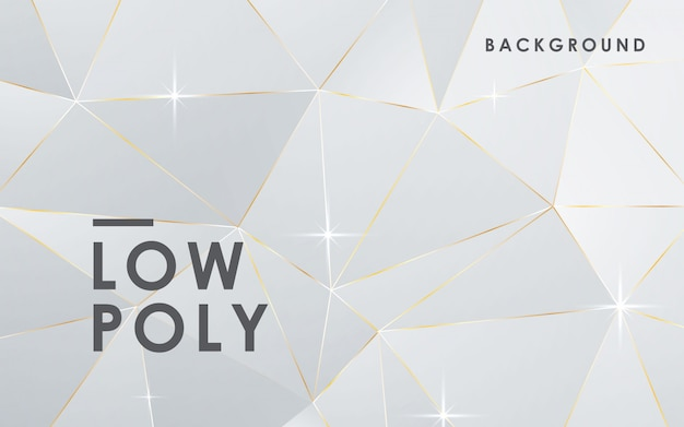 Luxury abstract white low poly background Premium Vector