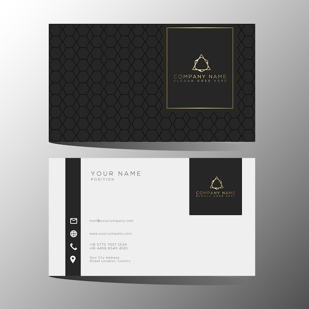 Luxury And Elegant Black Gold Business Cards Template Vector