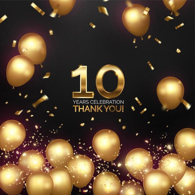 Celebrazione dell'anniversario di lusso con palloncini dorati Vettore gratuito