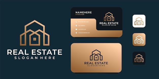 Роскошный вектор логотипа архитектуры с шаблоном визитной карточки. Premium векторы