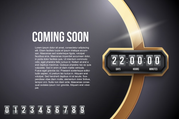Luxury background coming soon and countdown timer. . Premium Vector