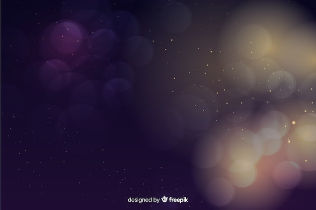 Luxury background with golden and blue particles bokeh Free Vector