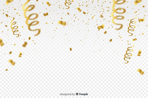 Luxury background with golden confetti Free Vector