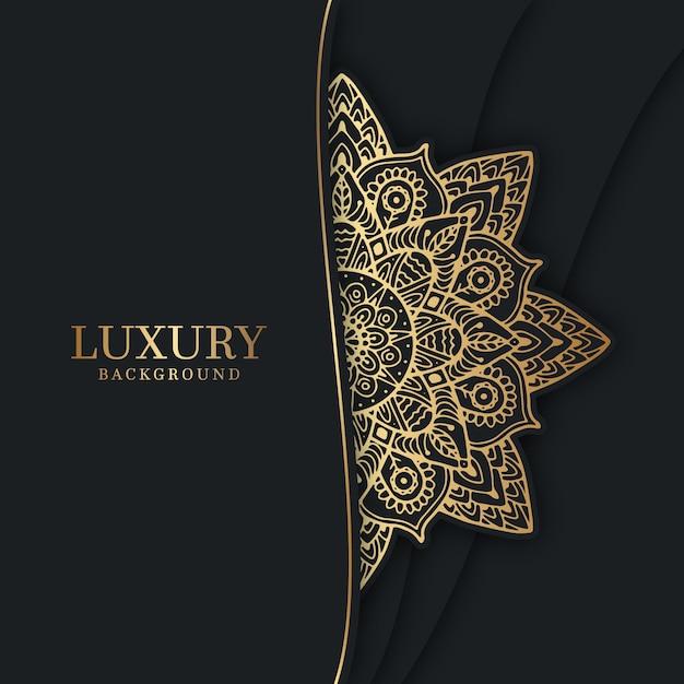 Роскошный фон с золотой мандалой Premium векторы