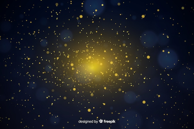 Luxury background with golden particles bokeh Free Vector