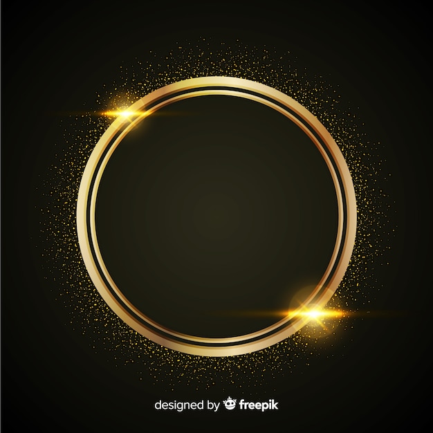 Luxury background with golden particles and rounded circle frame Free Vector