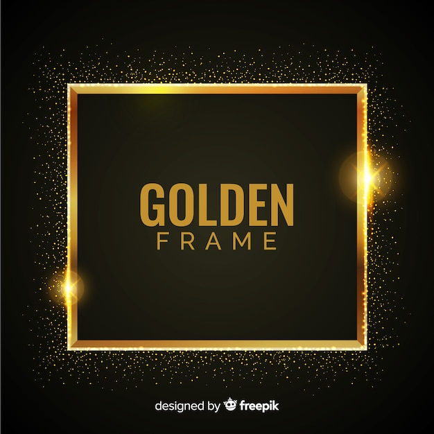 Luxury background with golden particles and square frame Free Vector