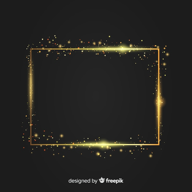 Luxury background with golden sparkling frame Free Vector
