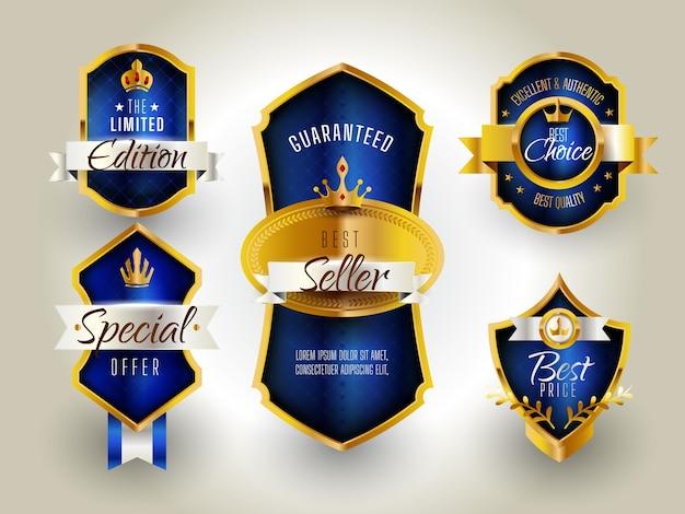 Роскошный значок золотой и синий Бесплатные векторы
