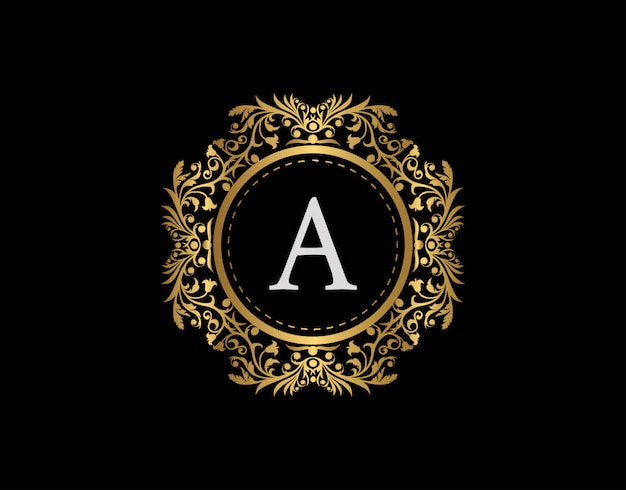 Luxury badge letter a logo. luxury gold calligraphic emblem with beautiful classic floral ornament. classy frame design vector illustration. Premium Vector