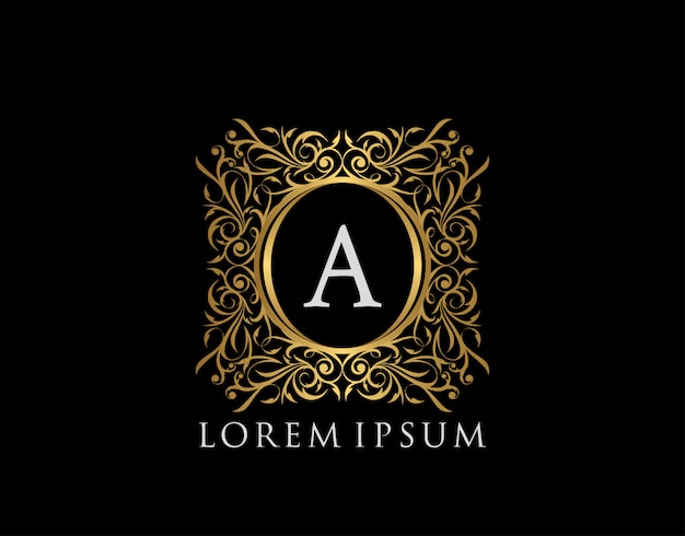 Luxury badge letter a logo. luxury gold calligraphic vintage emblem with beautiful classy floral ornament. classy frame design vector illustration. Premium Vector