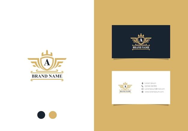 Роскошный дизайн логотипа и визитной карточки Premium векторы