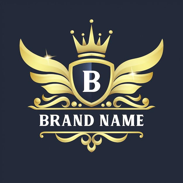 Luxury badge logo design Premium Vector