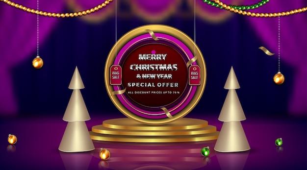 럭셔리 배너 메리 크리스마스와 새해 최대 다이아몬드 및 골든 프레임 요소 무료 벡터