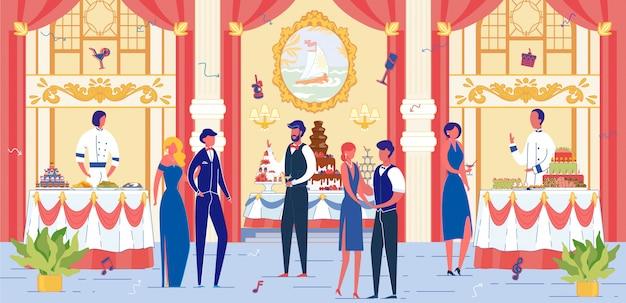 お祝いの服装をした人がいる豪華な宴会場。 Premiumベクター