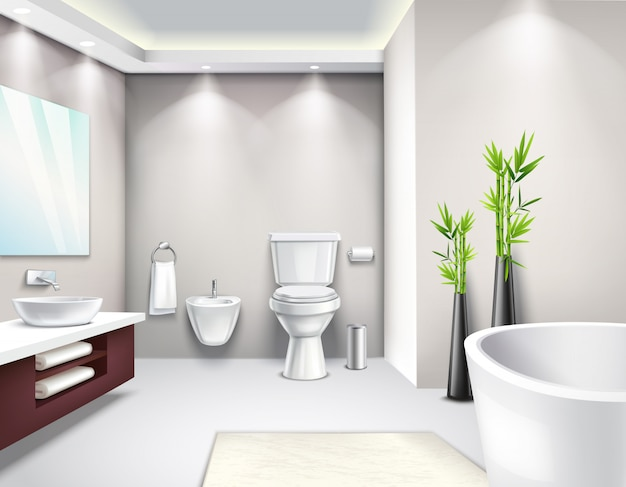 Luxury bathroom interior realistic design Free Vector