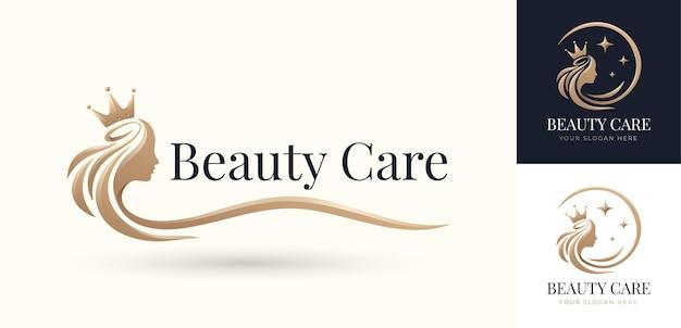 Luxury beauty hair queen logo design