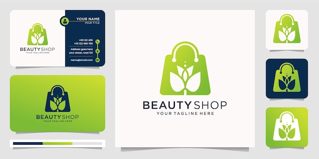 Luxury beauty shop combination in silhouette modern style design template. shop logo,beauty,floral,flower,fashion shop,women ,spa,elegant design with business card template. Premium Vector